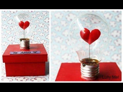 Diy Caixa Decorada Com Lampada Do Amor Artesanato Para Namorados