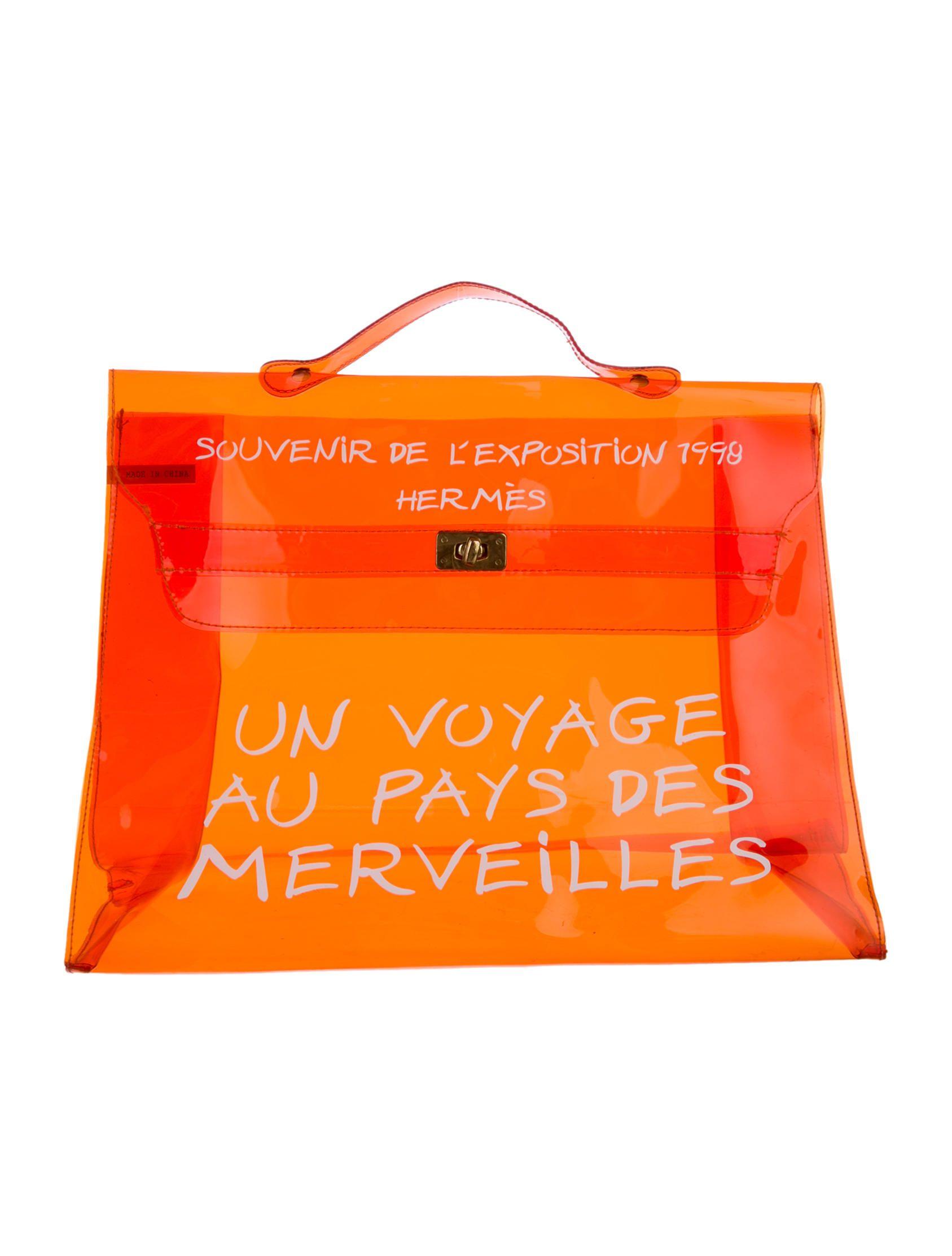 cea19c051323 Orange PVC Hermès Kelly Bag with white print