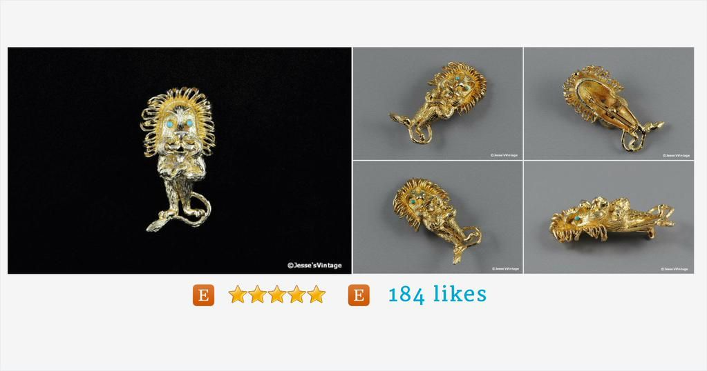 #Vintage #Lion #Brooch #Figural #Turquoise #Eyes by JesseVintage #pottiteam #etsy https://www.etsy.com/listing/194383938/ …