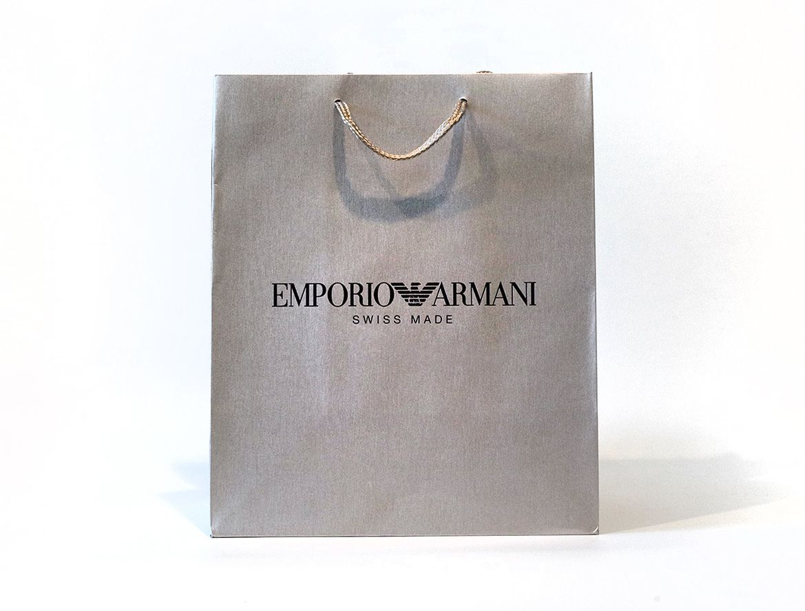 Emporio Armani chose to use this simple yet classic style bag to match  their classic and timeless brand.  EmporioArmani  Armani  shoppingbag   silverbag ... c59014a3543f4