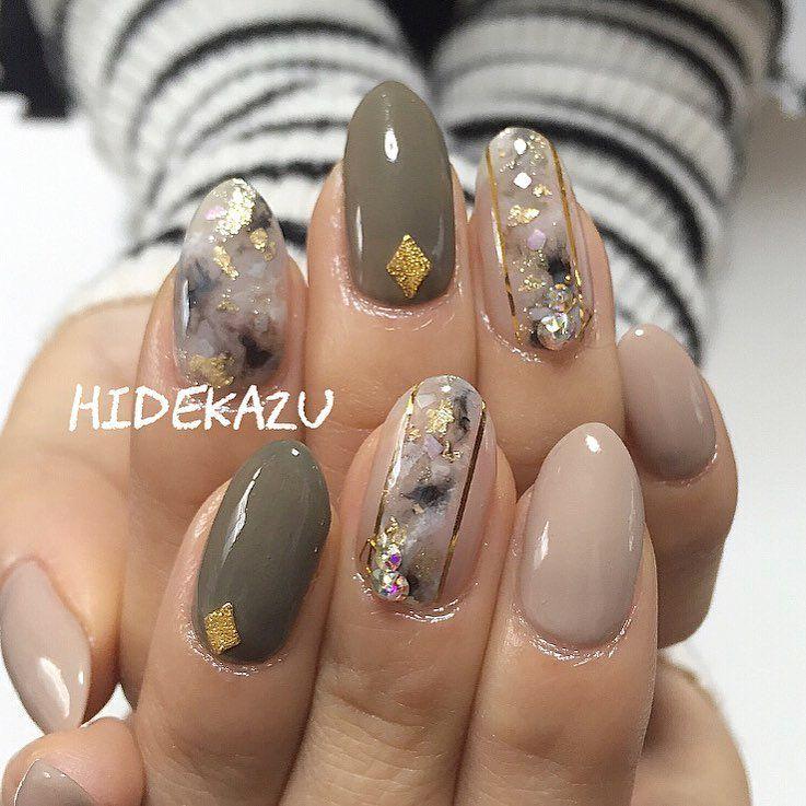 Pretty Autumn Fall Nail Art Idea Almond Shaped Nails Short Nails Almond Shaped Nails Designs Almond Shape Nails Almond Nail Art