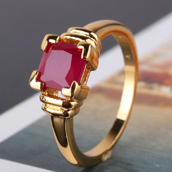 Vintage 24k Yellow Gold Filled Red Sapphire Ruby Color Prince Cut