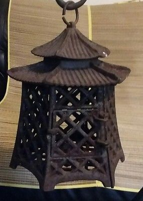 Vintage Cast Iron Garden Pagoda Hanging Japanese Lantern