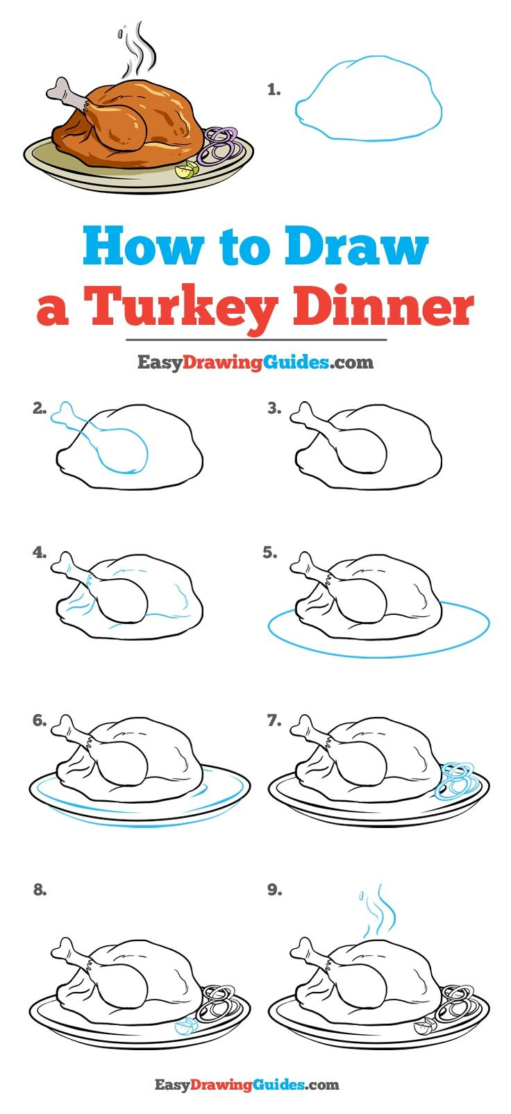 Learn How to Draw a Turkey Dinner: Easy Step-by-Step Drawing Tutorial for Kids and Beginners. #TurkeyDinner #drawingtutorial #easydrawing See the full tutorial at https://easydrawingguides.com/how-to-draw-turkey-dinner/.