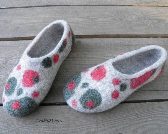 a1001abd4b520 Felted slippers Womens felt slippers with soles Felted Wool house ...