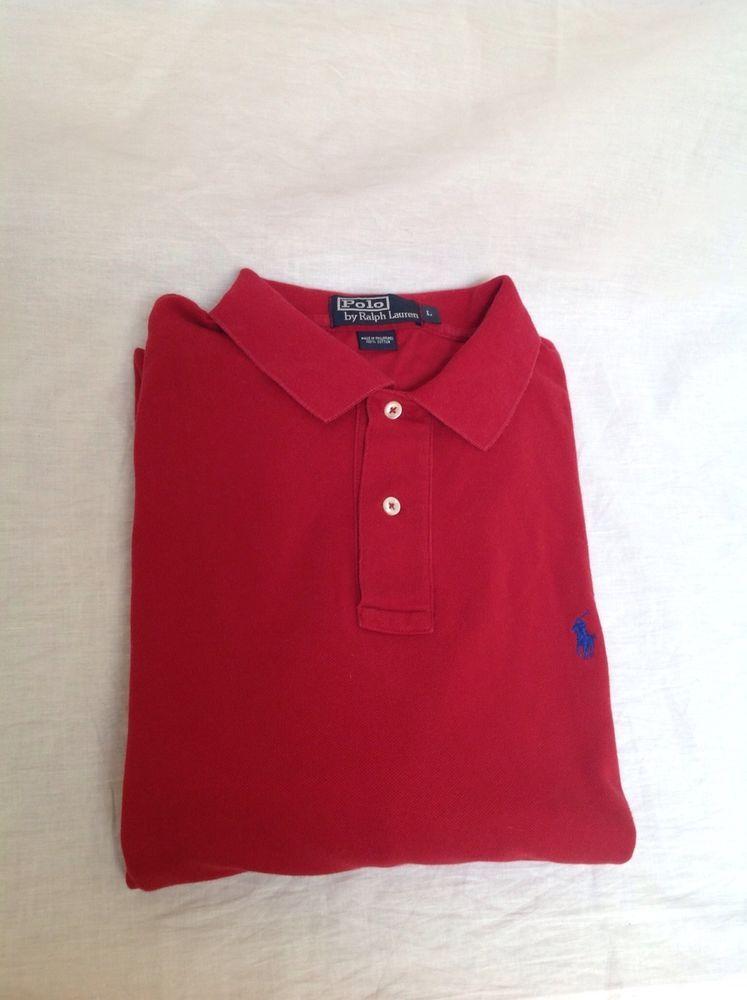 582cd734f Men s Long Sleeve Ralph Lauren Polo Pique Polo Shirt-Dark Red-Size Large