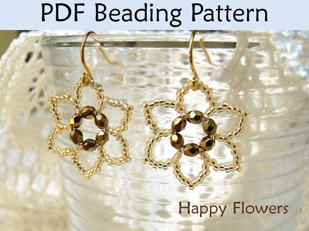 Beading Tutorial Pattern Earrings Flower Jewelry Simple Bead Patterns Happy Flowers 417 Earring Patterns Earring Tutorial Making Jewelry For Beginners