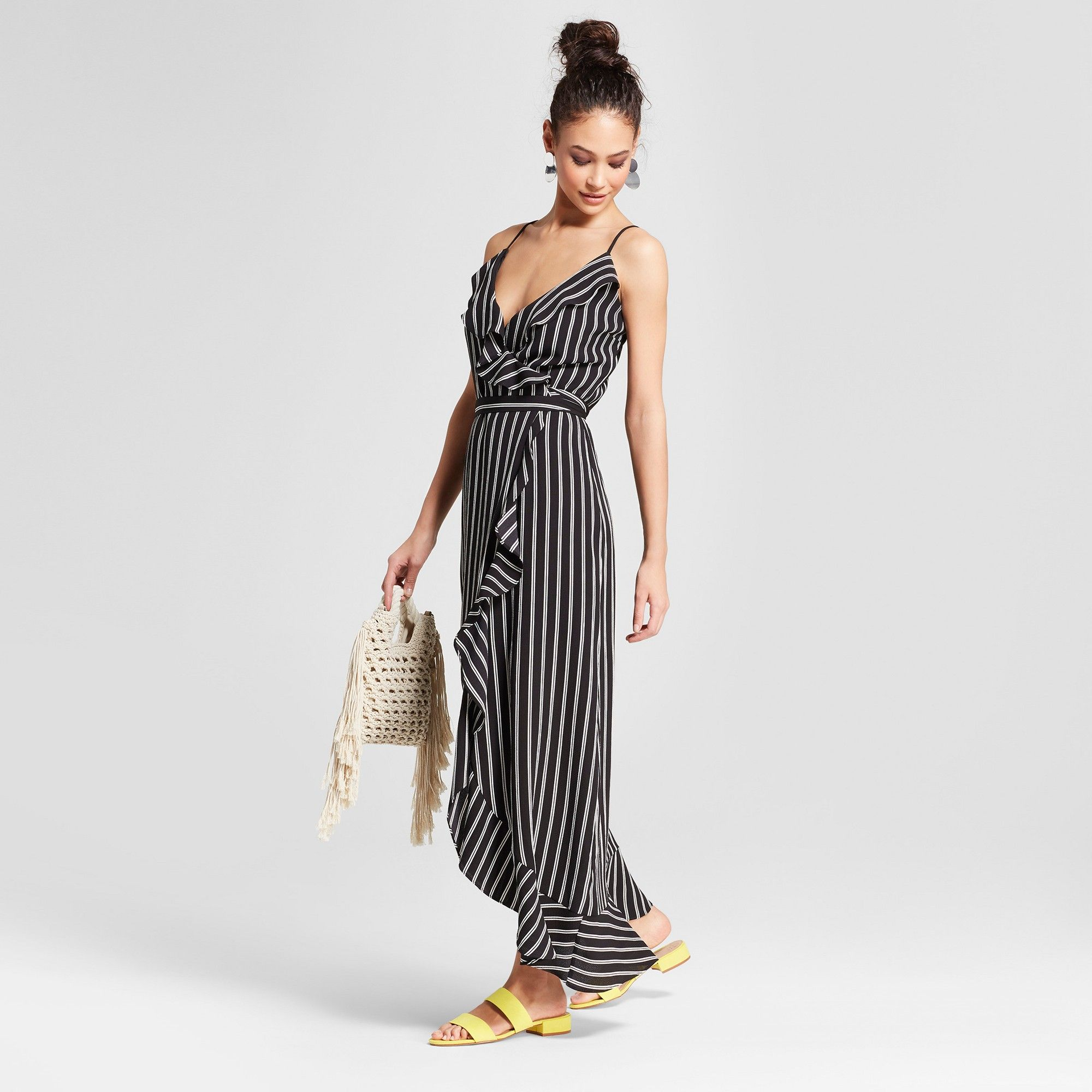 Women's Striped Ruffle Wrap Flounce Bottom Maxi Dress