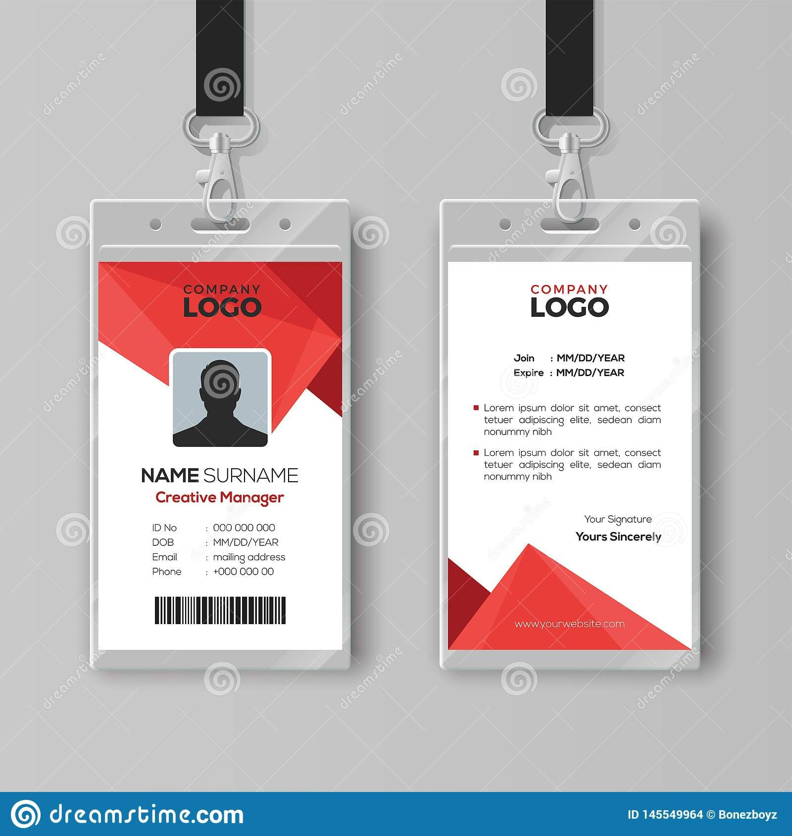 The Extraordinary Modern Id Card Template With Abstract Red Geometric Style For Conference Id Card Template Photograph Below Is Segment