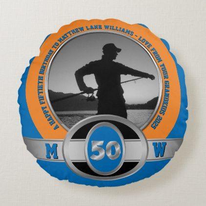 Milestone Birthday 50th Blue Orange Silver Round Pillow