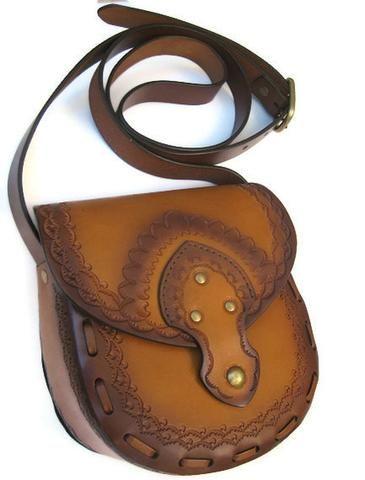 Genuine Tooled Leather Crossbody Purse Messenger Bag Vegetable Tanned Ombre Tan Brown Cowhide Brass Magnet Closure Adjustable By Karen Kell