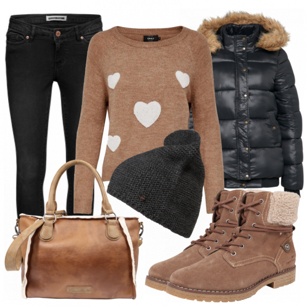 winter outfits heart bei schick in strick ein kuscheliges outfit f r die. Black Bedroom Furniture Sets. Home Design Ideas