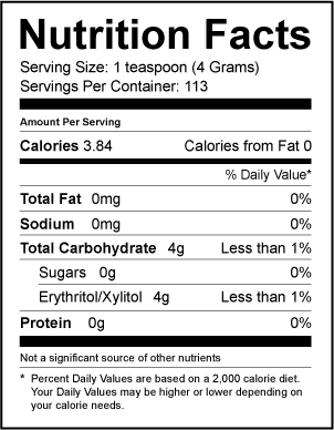 Nutrition Facts Xlear Lite Sweet Xylitol And Erythritol Sweetener Ingredients Erythritol Non Gmo Corn Kernels X Xylitol Erythritol Nutrition Facts