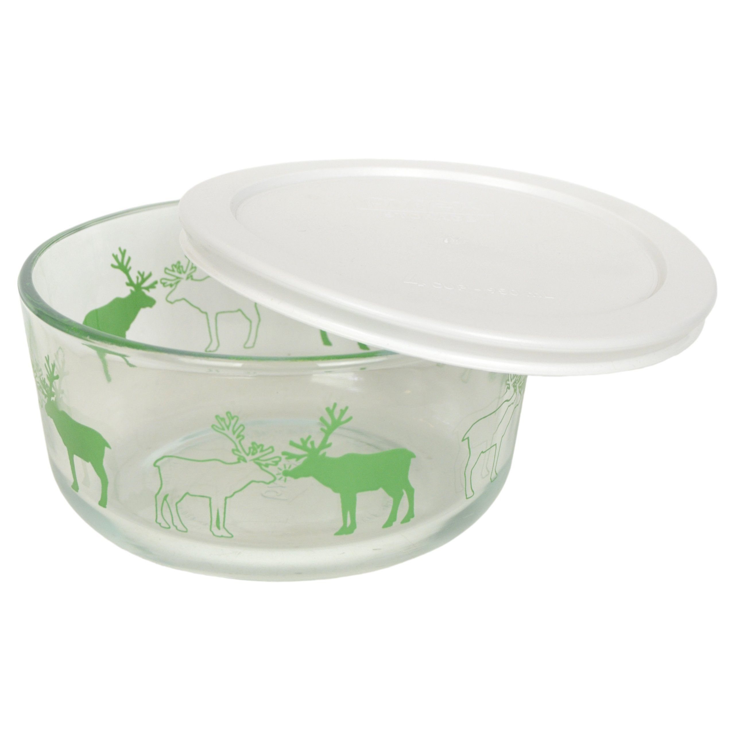 Pyrex 7201 4 Cup Reindeer Glass Bowl and 7201PC White Lid