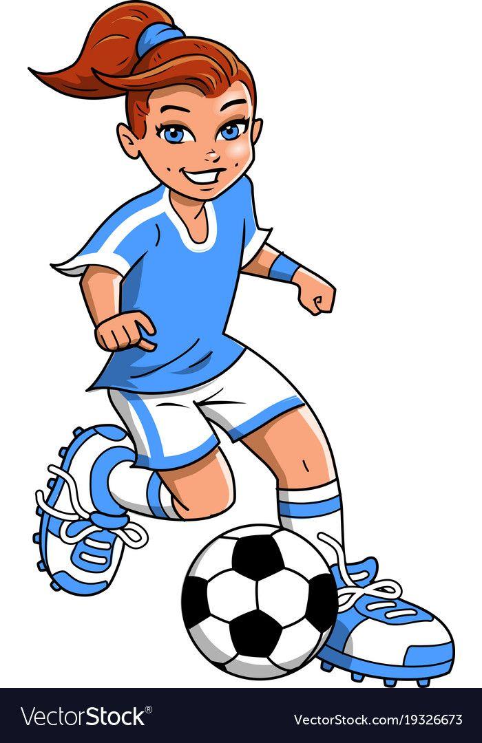 Soccer Football Girl Player Clipart Cartoon Vector Image On Desenho Futebol Times Internacionais Futebol De Botao
