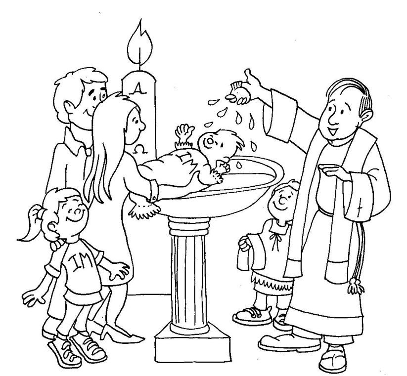 Baptism Coloring Page Church Busy Bags Catholic Sacraments