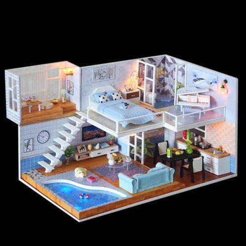 DIY Miniaturen Puppenhaus Holzmodellbau LED Puzzle Spielzeug Kinder Kreatives Geschenk  Baby DIY Miniaturen Puppenhaus Holzmodellbau LED Puzzle Spielzeug Kinder Kreatives...