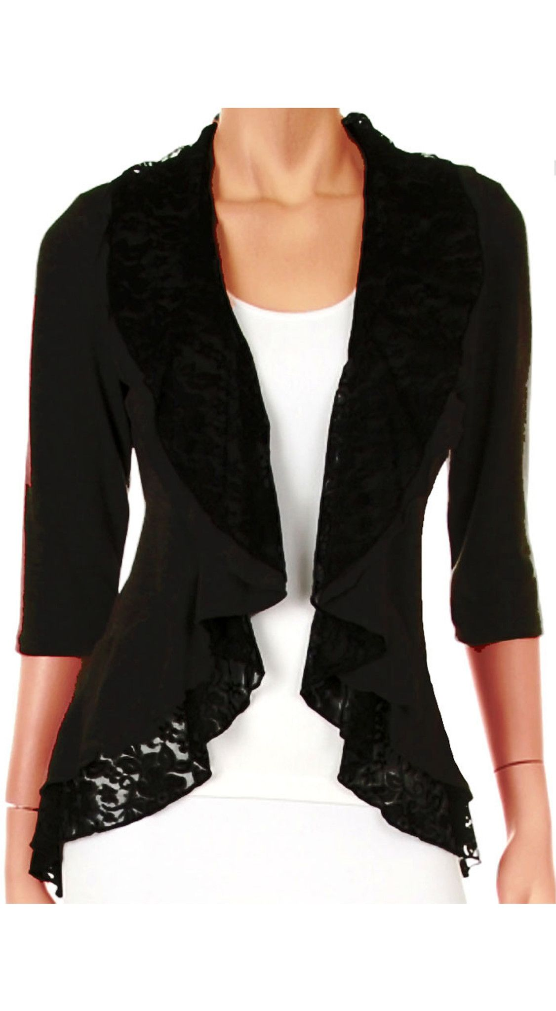 Plus Size Cardigan Black Lace Layered New Womens Sweater Top Shirt ...