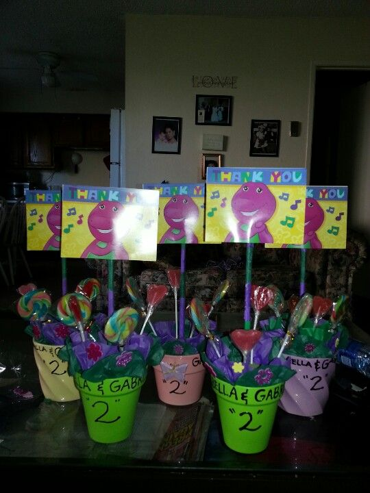 Barney centerpieces for my twin girls 2nd birthday party Yes I made