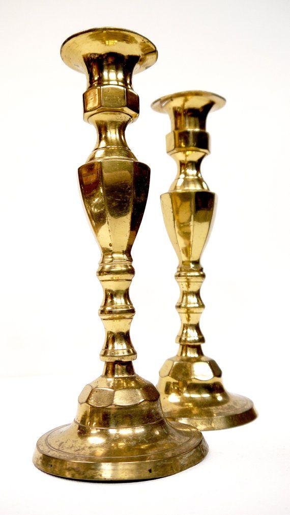 Antique Brass Candlesticks c.1900 by Yonks
