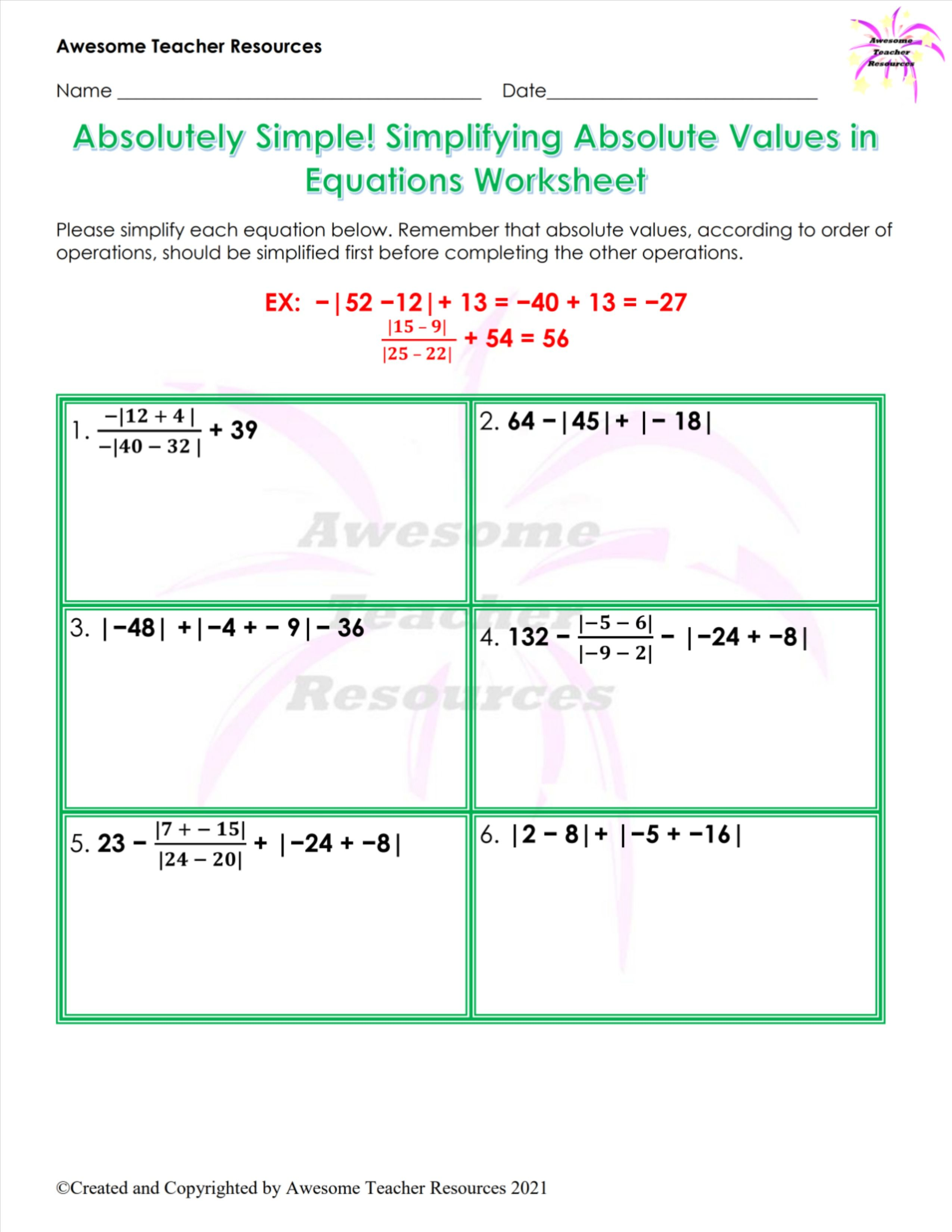 Absolutely Simple Simplifying Absolute Values In Equations Worksheet 1 In 2021 Absolute Value Order Of Operations Equations