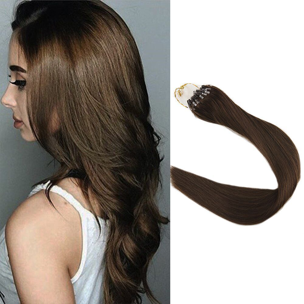 Brown Color4 Micro Beads Hair Extensions Loop Ring Hair Extensions