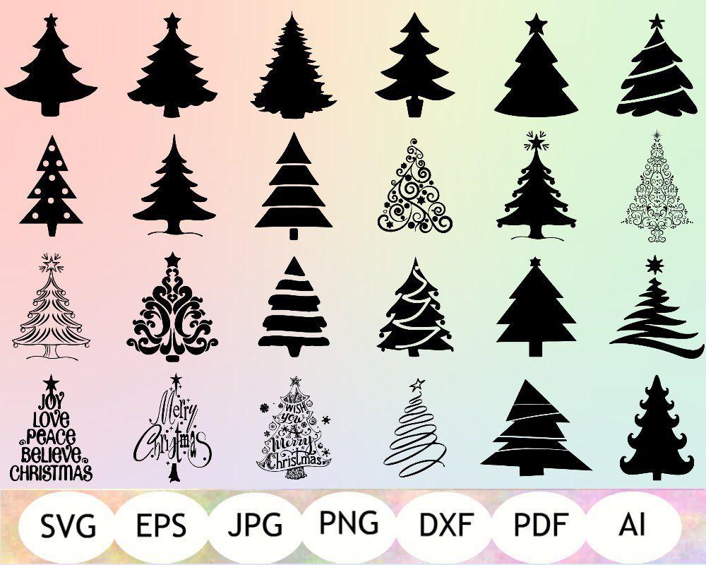 SET of 24 Christmas Trees SVG Christmas Trees Silhouette