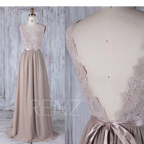 2017 Gray Chiffon Bridesmaid Dress with Belt, Sweetheart Lace Illusion Wedding Dress, V Back Long Prom Dress Floor Length (L291)