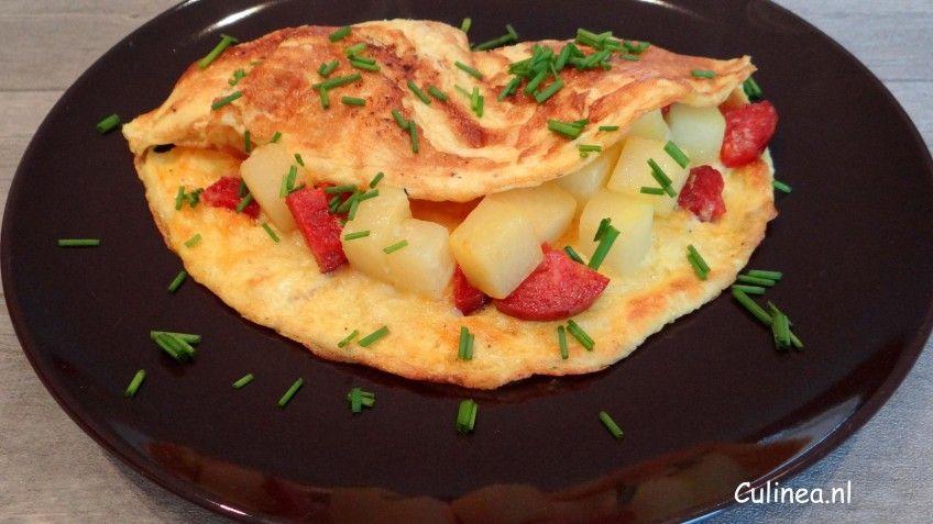 Omelet met koolraap en chorizo
