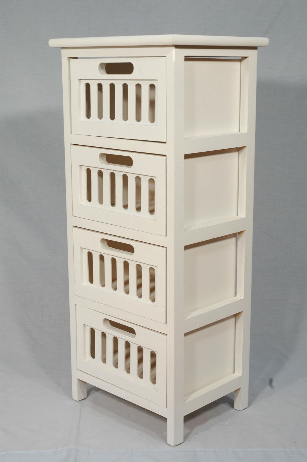 White timber storage cabinet side table stand shelf with slide out