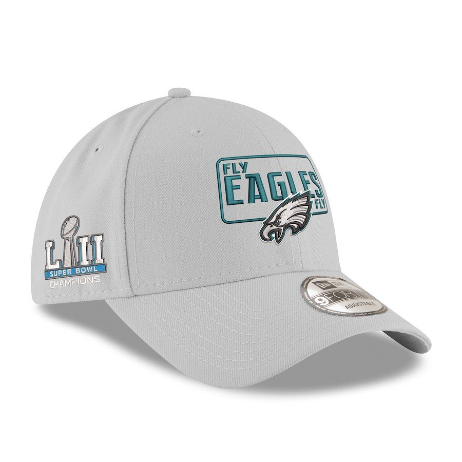 Philadelphia Eagles New Era Super Bowl LII Champions License 9FORTY  Adjustable Hat – Gray 6db33ddb7