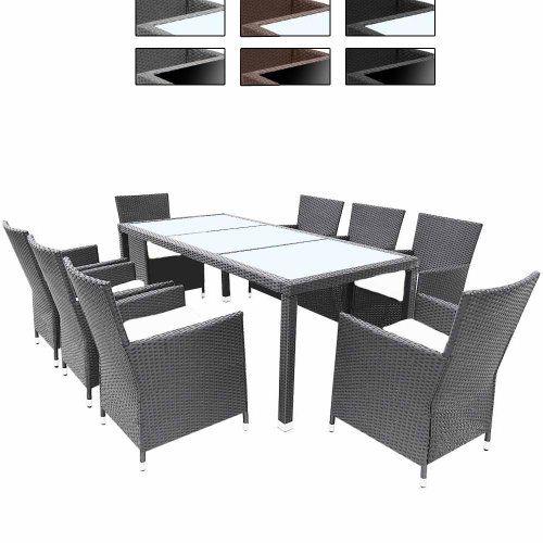 miadomodo - salon de jardin en résine tressée - ensemble table de