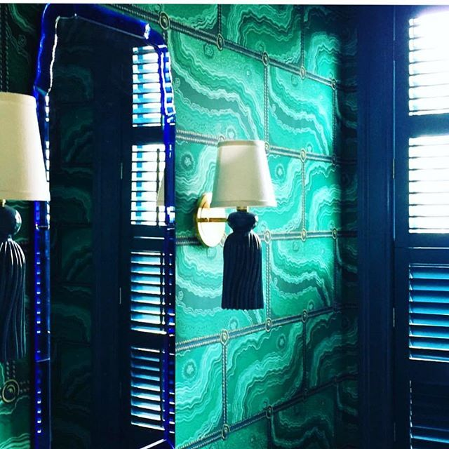 @robinhenryid bringing the blue & green glamour with our Tassel Sconces #robinhenry #coleenandcompany #tasselsconce #tasselsconces