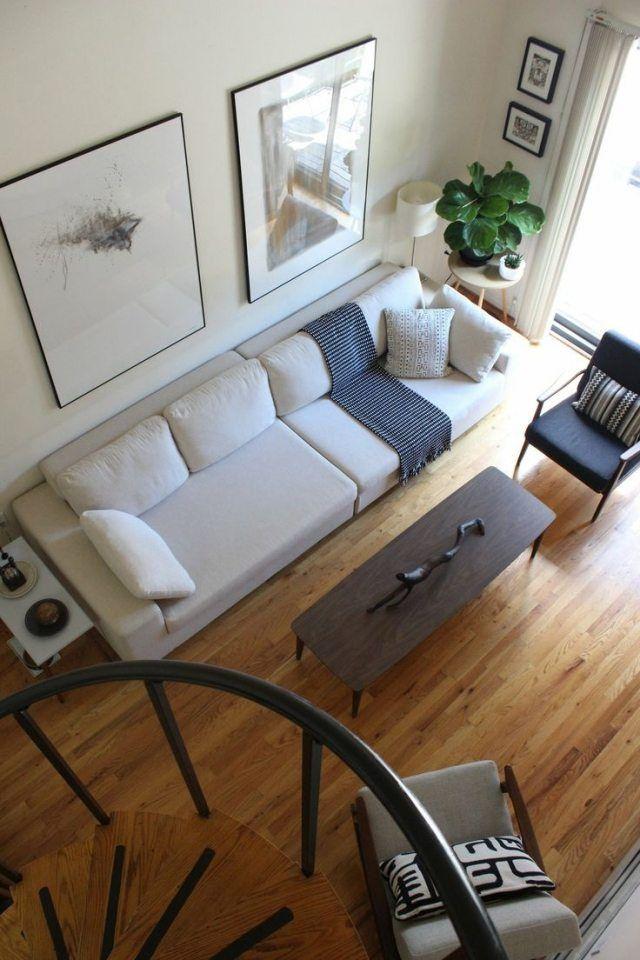 Wohnzimmer Modern Einrichten Weisses Sofa Weiße Wandfarbe