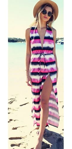Fuchsia Pink Purple White Black Tie Dye Horizontal Stripe Sleeveless ...