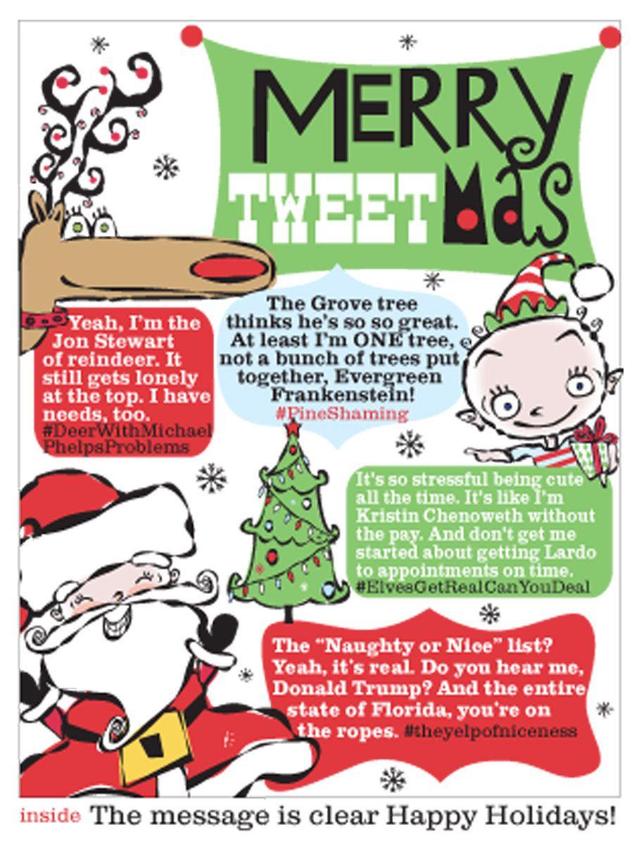 Set Of 10 Funny Cool Christmas Card Merry Tweet Mas Pinterest