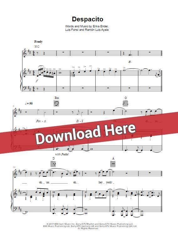 Luis fonsi despacito daddy yankee sheet music piano - Ed sheeran dive chords ...