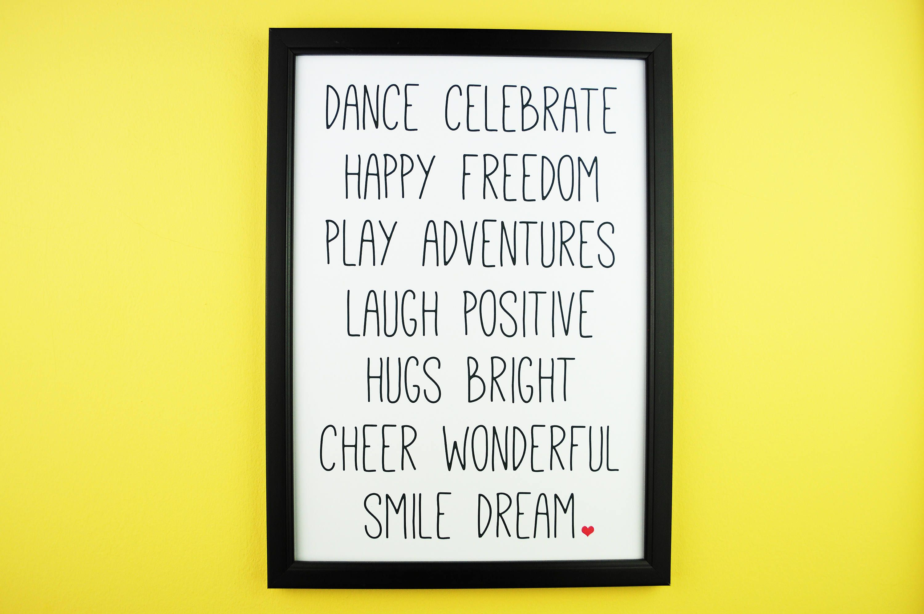 Happy Words A5 A4 | Inspirational Positive Typography Print |Home ...