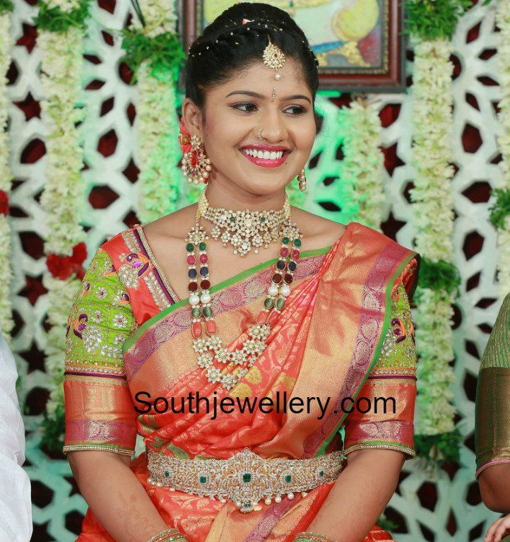 Bride in Navaratna Haram and Chandbalis Set photo | brides/south ...