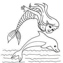 meerjungfrau mit einem delphin zum ausmalen   coloriage sirene, coloriage, dessin a colorier