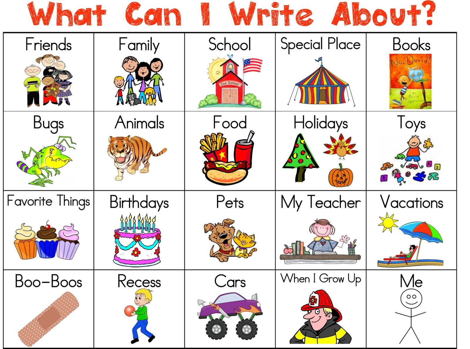 topics for kids to write about