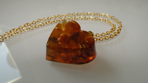 Heart pendant with Baltic amber by blacksheeponline on Etsy