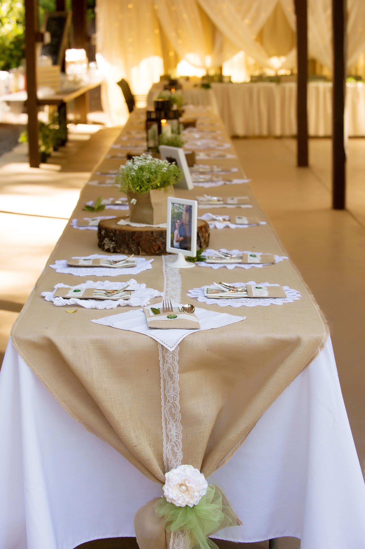 Chemin de table, fabriqué à partir de dentelle Ivoire et toile de jute