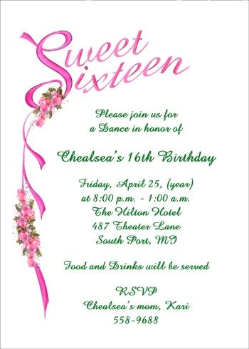 Sweet 16 Party Invitations And Birthday Invitations Stationery At Cardsshoppe Com Wit Sweet Sixteen Invitations Sweet 16 Invitations Sweet 16 Party Invitations