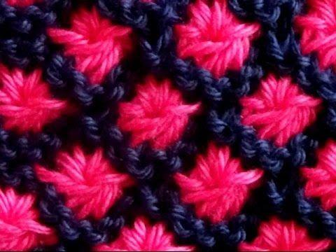 Cómo Tejer Flores en Colores-Knit Flowers in Colors 2 Agujas (363) - YouTube