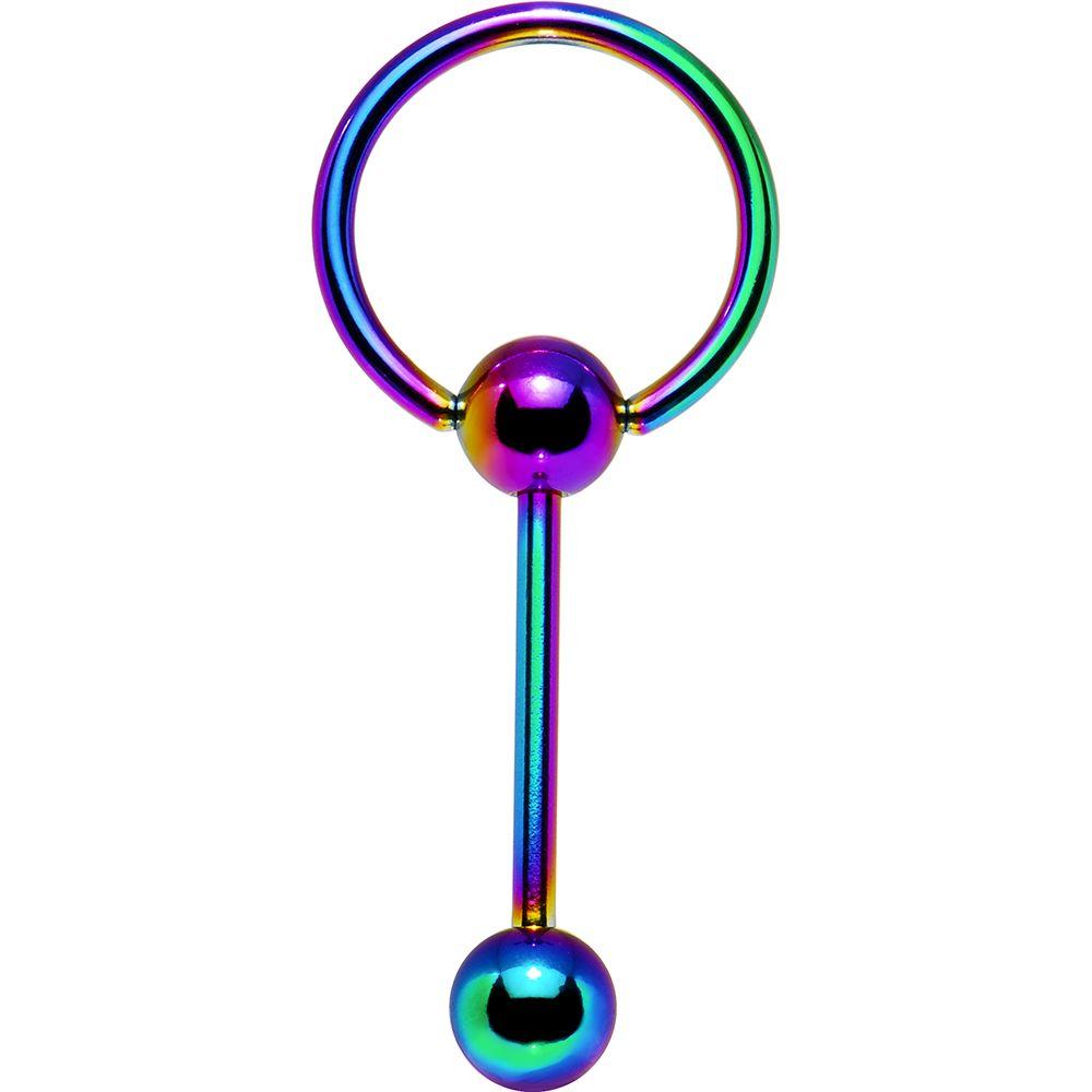 Rainbow Anodized Titanium Doorknocker Barbell Tongue Ring  Body