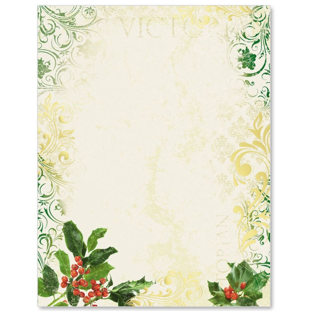 Victorian Holly Specialty Border Papers  Envelopes And Scrapbooking