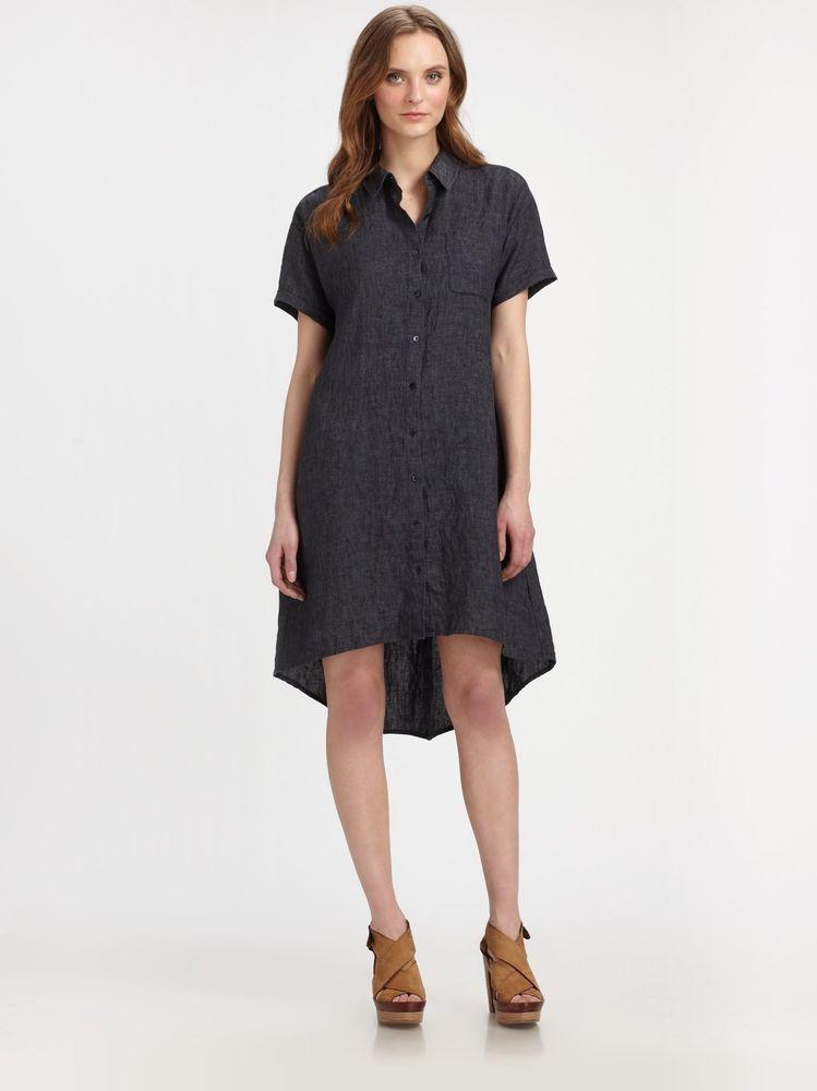 6095ee292ae Eileen Fisher Blue Linen High Low Shirt Dress Size XS  EileenFisher   ShirtDress  Casual