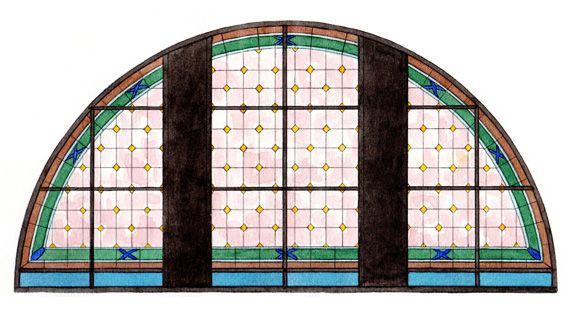 bozzetto preparatorio grande vetrata cm. 800 x 400 #sketch #Stained-glass