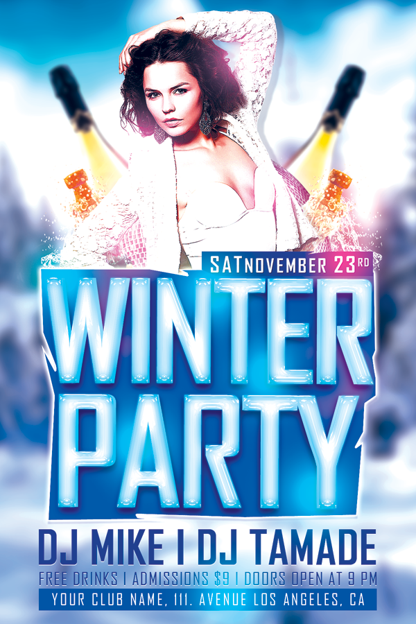 winter bash free club psd flyer template
